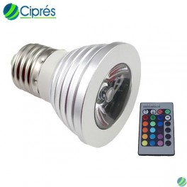Foco Led 4 Watts MR16 E27 RGB 16 Colores Control Remoto Cipres